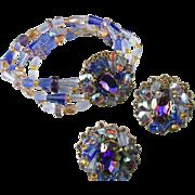 Esq. Capade by Joni Blue Vitrail Rhinestone Bracelet and Earrings