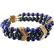 SOLD Lanvin Germany Faux Malachite/Lapis Glass Beaded Bracelet