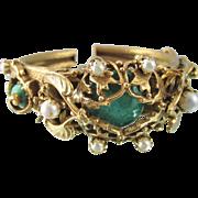 Vintage Art Deco Czech Faux Chrysoprase Hinged Bracelet