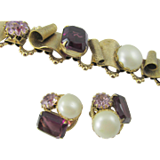 Regency Purple Rhinestone Brushed Gold Plated Bracelet and Earrings