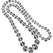 """Vintage 32"""" Czech Quartz Rock Crystal Graduated Bead Necklace"""