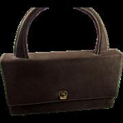 Vintage 1940s Brown Suede Leather Handbag by Mark Cross