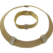 Christian Dior Mesh Pave Rhinestone Necklace and Bracelet in Original Box