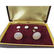 Swank White Mother of Pearl Tuxedo Set in Original Box