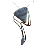 """Designer Signed Sterling Striped Agate Modernist 4.5"""" Pendant and Chain"""