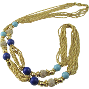 Grosse Germany Reconstructed Turquoise and Lapis Necklace