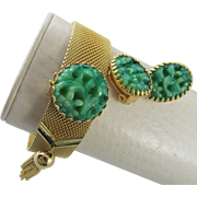Napier Mesh Bracelet with Faux Carved Jade and Matching Earrings: Bertolli Book Piece