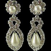 Vintage KJL Kenneth Jay Lane Rhinestone and Faux Pearl Drop Earrings