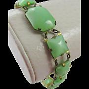 Vintage Art Deco Chrysoprase Brass Bracelet
