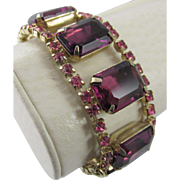 Vintage Chunky Purple & Pink Rhinestone Bracelet