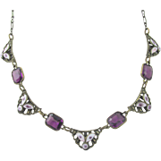 Vintage Czech 1930s Purple Rhinestone and Enamel Brass Necklace