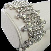 SALE Weiss Thick Five Row Rhodium Plated Rhinestone Bracelet