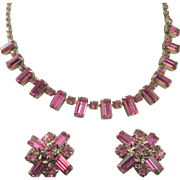 SALE Weiss Deep Pink Baguette Rhinestone Necklace and Earrings