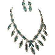 Kramer of New York 1963 Emerald Rhinestone Empress Collection Necklace and Earrings