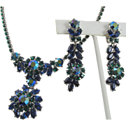 Trifari Blue and Green Rhinestone Drop Necklace and Earrings