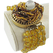 1940s Citrine Glass Beaded Bracelet with Seed Bead Clasp from France