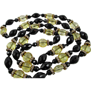 French Art Deco Flapper Jet Black & Yellow Glass Bead Rondelle Necklace