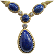 Christian Dior Faux Lapis Lazuli Drop Gold Plated Necklace