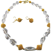 Estate Signed Rock Crystal Quartz Wrapped Beaded Necklace and French Earwires