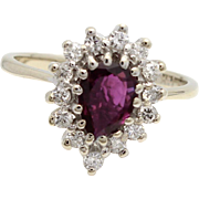 Vintage Pear Shaped Ruby Ring with Diamond Halo in 14k White Gold