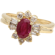 Vintage Oval Ruby Ring with Diamond Starburst in 14k Yellow Gold
