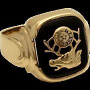 Vintage 10k Gold Elks Lodge Fraternal Ring Art Deco Design