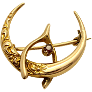 Victorian Honeymoon Pin with Wishing bone and Ruby in 10k Gold- July (Cancer) Birthstone