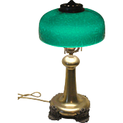 Early Pittsburg Chippd Ice green shade lamp Circa 1900