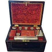 Men's Rosewood Vanity Box Inlaid with Mother of Pearl