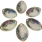 REDUCED Hand-Painted Bavarian Nut or Mint Dishes, Open Salt Cellars, Set of 6