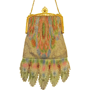 1920s Dresden Mesh Purse by Whiting & Davis, Flapper Bag with Watercolor Design & Cascading ..