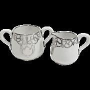 Crown Staffordshire England Sterling Silver Overlay Cream & Sugar Set