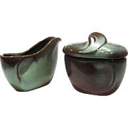 SALE SALE Midcentury Prairie Green Sugar Bowl & Creamer by Frankoma