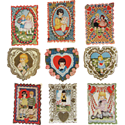 SALE Set of 9 Embossed Valentines - Double-Sided Circa 1930