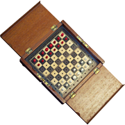 Antique Travelling Chess Set in mahogany box