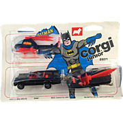 Corgi Juniors Batman Triple pack, Batmobile, Batboat, Batcopter, MOC
