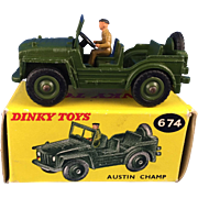 Dinky 674 Austin Champ, Plastic hubs and driver, gloss paint finish, Mint in Box.