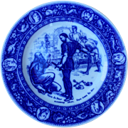 WEDGWOOD IVANHOE PLATE, 'Front de Beuf extorting silver from Isaac the Jew'