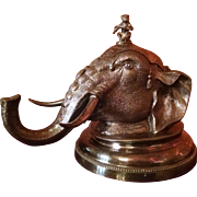Silver Circus Elephant Head Inkwell
