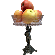 REDUCED Crystal Fruit-Pastry-Candy Bowl On A E G ZIMMERMAN Cast Bronze Base