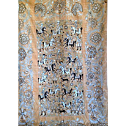 REDUCED 19c Hand-embroidered Wall Hanging Golab-Duzi The Royal Hunting