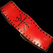 Vintage Red Leather Diesel Studs Belt