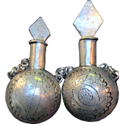 Lot Of Two Old Handcarved Moroccan Silver Perfume Bottles