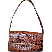 Vintage Handmade Alligator Skin Brown Shoulder Purse