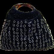 REDUCED Vintage Black Velvet Dressy Handbag Ornamented With Hanging Loops Of Marcasite Beads