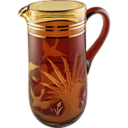 SALE Amber Cut to Clear Bohemian Glass Pitcher