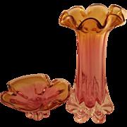 SOLD Lovely Rubin Bohemian Vase and Bowl Set