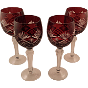 SOLD 4 Beautiful Red Bohemian Glass Cut to Clear Wine Glasses