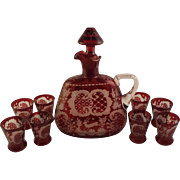 SOLD Ruby Red Bohemian Glass Decanter with 8 Shot Glasses