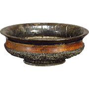 SOLD Large 19th C. Tibetan Chased and Repousse and Wood Bowl